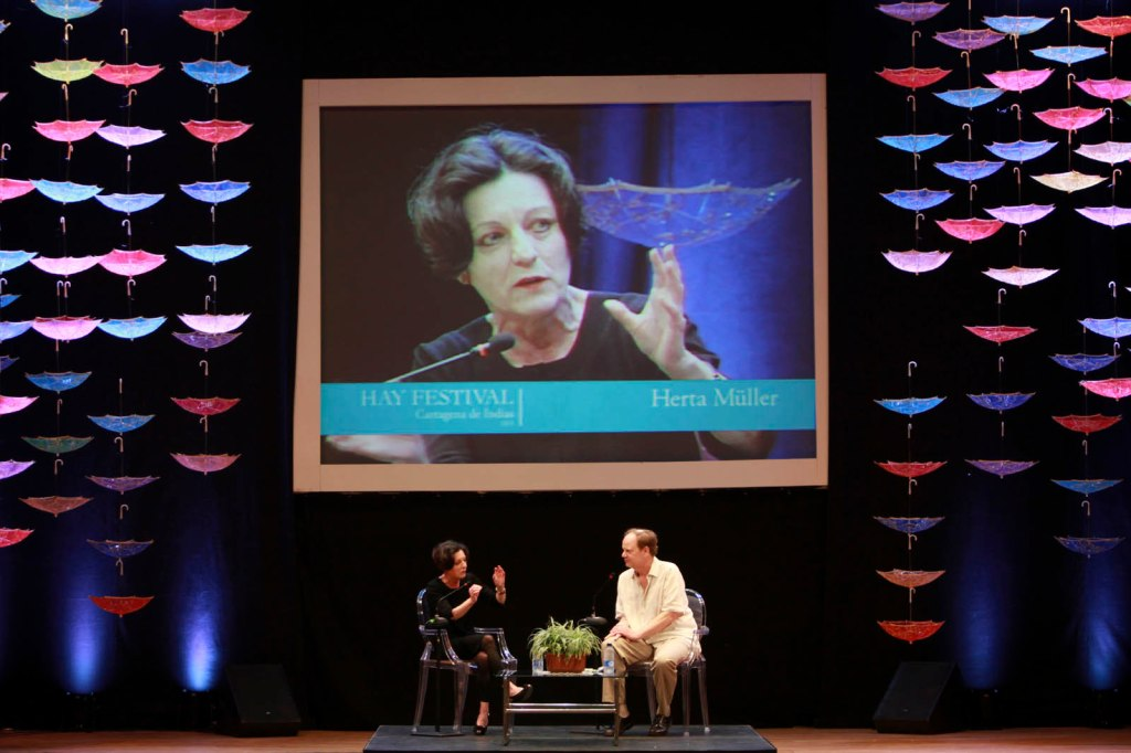 Rumanian literature Nobel Prize winner  Muller speaks at a conferance at the HAY festival at the  Adolfo Mejia Theater in Cartagena